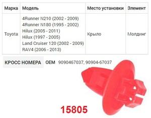 NAck 15805 Клипса   Обшив./молдин, 2 и более шляпок