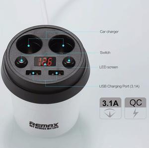 REMAX CR-2XP Разветвитель в прикуриватель 2-ВЫХ+2USB +диспл.  12V Coffee CupCar Charger