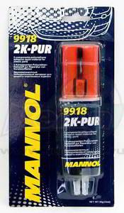 MANNOL 9918 2K-PUR Клей   Епоксидный шприц 25min  СЕРЫЙ