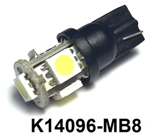 КИТАЙ K14096-MB8 Диод световой 12v   W3W (W2,1x9,5d) Бел.  5-led 2-е вкл.