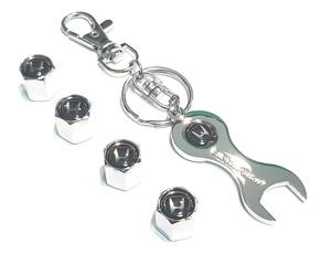 КИТАЙ K14387 Брелок   Ключ HONDA чёрный (ключ + колпачки)  Ключ рожковый, в блистере.