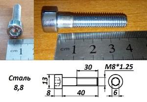 WURTH 0084840 Болт   Внутр. 6-гр. M 8*1.25mm  L=40mm   8.8 класс проч.