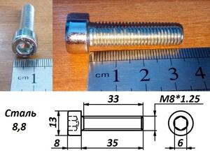 WURTH 0084835 Болт   Внутр. 6-гр. M 8*1.25mm  L=35mm   8.8 класс проч.