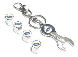 КИТАЙ K15832 Брелок   Ключ FORD белый (ключ + колпачки)  Ключ рожковый, в блистере.
