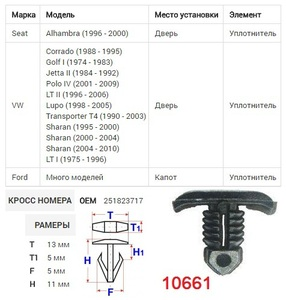 NAck 10661 Клипса   Обшив./молдин, 1-а шляпка