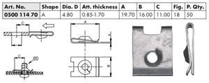 WURTH 0050011470 Закладные   Под саморез крепёжная  20дл.*16шр.  D4,8mm