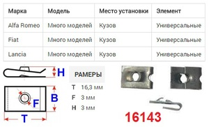ОРИГИНАЛ 16042 Закладные   Под саморез крепёжная  16дл.*11шр.  D4,2mm