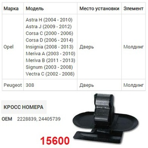 NAck 15600 Клипса   Обшив./молдин, 2 и более шляпок