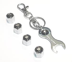 КИТАЙ K14388 Брелок   Ключ PEUGEOT чёрный (ключ + колпачки)  Ключ рожковый, в блистере.