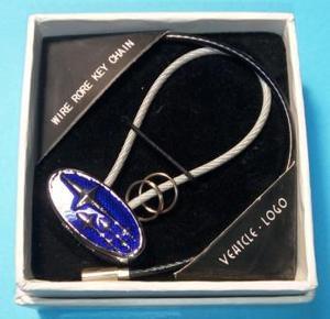 КИТАЙ K14899 Брелок   Шнурок SUBARU синий  Овал+2 тросика, в коробке.