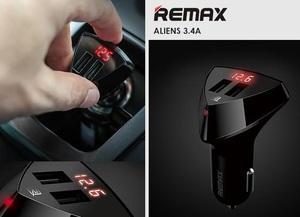REMAX RC-C208 Адаптер   USB 2-вых, (с дисп.) ALIENS  для зарядки от 12-24V