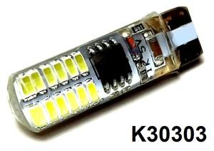 КИТАЙ K30303 Диод световой 12v   W3W (W2,1x9,5d) Бел. 24-led 2-е вкл.
