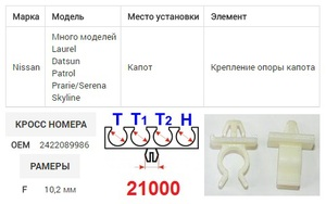 NAck 21000 Клипса   Опоры капота, шлангов, проводов