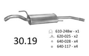 EDEX 30.19 Глушитель   Задн. часть VW*P 88-93 1.9D